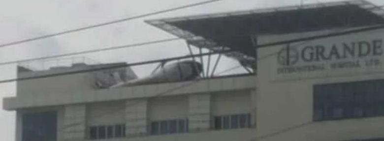 ग्राण्डीको हेलिप्याडबाट खसेर हेलिकोप्टर दुर्घटनाग्रस्त