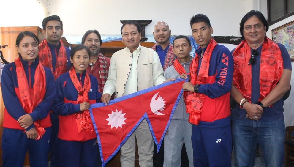 नेपाली ब्याडमिन्टन टोली चीनको नानिङ प्रस्थान