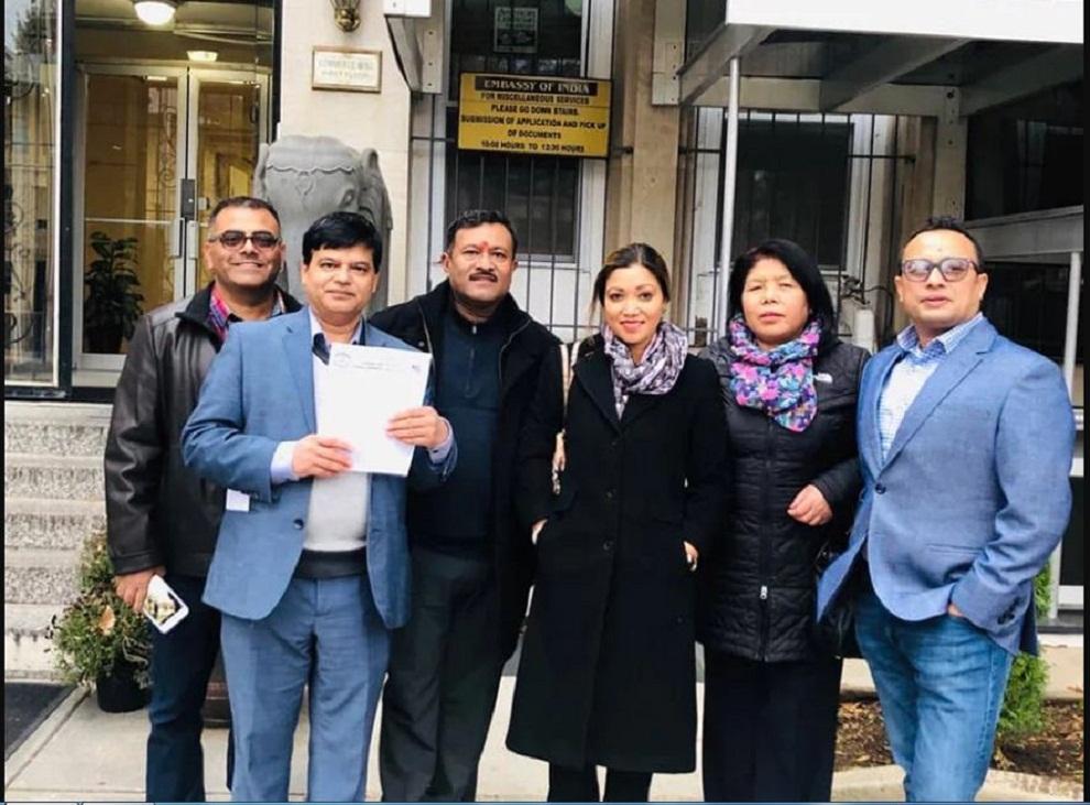 नेपाली भुमि फिर्ताको माग गर्दै एनआरएन अमेरीकाले बुझायो बिरोध पत्र