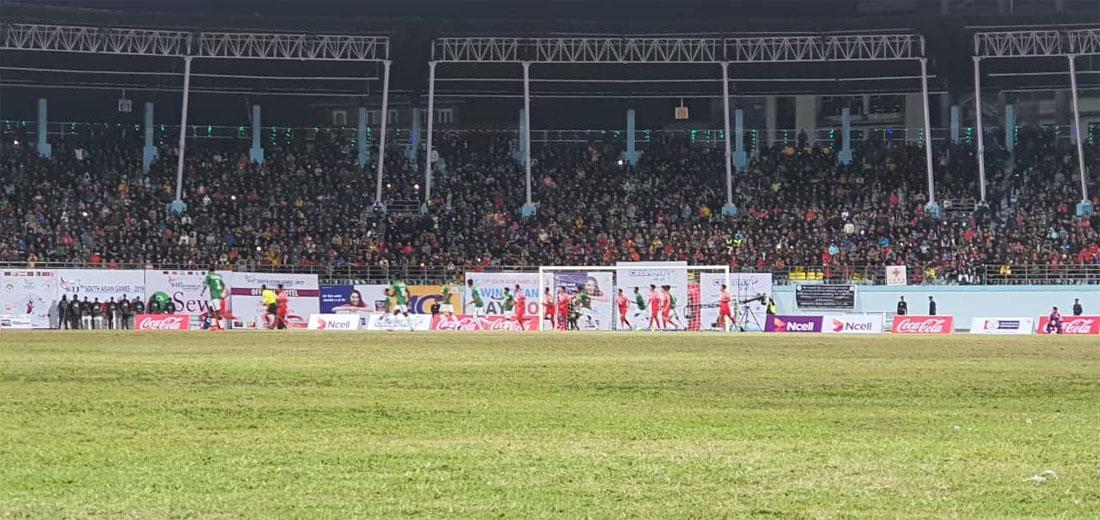 नेपाललाई आज जित्नै पर्ने दबाब : पहिलो हाफमा बंगलादेशविरुद्ध १–० को अग्रता