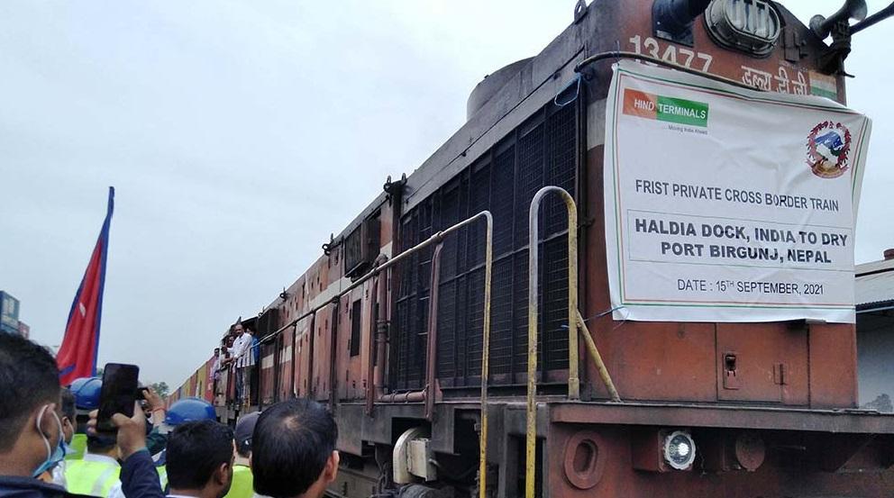 भारतबाट वीरगञ्ज आइपुग्यो पहिलो निजी कार्गो रेल